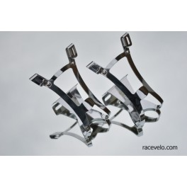 vintage ICS toe clips for road or track pedals chromed